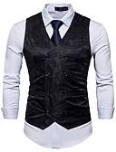 hesapli Erkek Blazerları ve Takım Elbiseleri-Erkek Çalışma Bahar / Sonbahar Normal Vesta, Solid / Çiçek Desenli V Yaka Kolsuz Pamuklu / Polyester Siyah / YAKUT / Açık Gri L / XL / XXL / İş Dünyası İçin Günlük