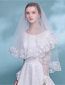 זול הינומות חתונה-שכבה אחת Bohemian Style הינומות חתונה צעיפי מרפק עם פרח סאטן תחרה / קלאסי
