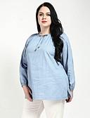 abordables Tops de Mujeres-Mujer Trabajo Tallas Grandes Básico Vaqueros - Camiseta Un Color