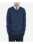 זול גברים-ג'קטים ומעילים-צבע אחיד - סוודר שרוול ארוך צווארון V בגדי ריקוד גברים
