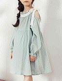 preiswerte Kleider für Mädchen-Kinder Mädchen Einfach Retro Solide Langarm Polyester Kleid Leicht Blau