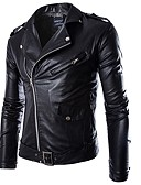 cheap Men's Jackets & Coats-Men's Punk & Gothic Plus Size Denim Leather Jacket - Solid Colored / Long Sleeve