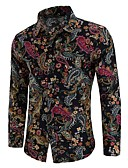 cheap Men's Shirts-Men's Boho Plus Size Cotton Shirt - Paisley Print Spread Collar / Long Sleeve