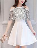 tanie Sukienki-Damskie Święto Szczupła Pochwa Sukienka - Geometric Shape Z odsłoniętymi ramionami Nad kolano