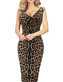 povoljno Ženske haljine-Žene Uske Bodycon Haljina - Osnovni, Leopard V izrez Midi