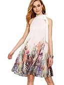 abordables Biquinis y Bañadores para Mujer-Mujer Corte Ancho Vestido - Espalda al Aire, Floral Sobre la rodilla Blanco / Primavera