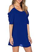 זול שמלות מודפסות-כחול כתפיה מיני גב חשוף, צבע אחיד - שמלה משוחרר / שיפון משוחרר מידות גדולות סגנון רחוב יומי / ליציאה בגדי ריקוד נשים / אביב / קיץ