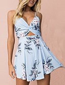 cheap Women's Jumpsuits & Rompers-Women's Romper - Floral, Backless Cut Out Print Deep V