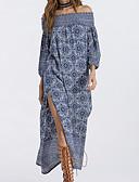 זול חולצה-סירה מתחת לכתפיים מידי דפוס, שבטי - שמלה משוחרר חגים / חוף בגדי ריקוד נשים / קיץ