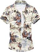 baratos Camisas Masculinas-Homens Camisa Social - Praia Boho Estampado, Floral Colarinho Clássico Delgado / Manga Curta