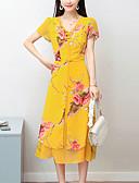 baratos Vestidos de Mulher-Mulheres Sofisticado Moda de Rua Bainha Chifon Vestido - Estampado, Floral Médio