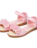 cheap Women's Dresses-Girls' Shoes Leatherette Summer Flower Girl Shoes Sandals Flower / Magic Tape for White / Pink