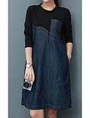 baratos Vestidos de Mulher-Mulheres Tamanhos Grandes Básico Algodão Solto Vestido Sólido Acima do Joelho / Primavera / Outono