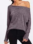 cheap Women's Sweaters-Women's Daily Solid Colored Long Sleeve Slim Regular Pullover, One Shoulder Spring Yellow / Wine / Lavender M / L / XL
