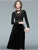 cheap Maxi Dresses-Women's Holiday Street chic Slim Sheath Dress - Color Block V Neck Summer Black L XL XXL