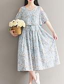 お買い得  赤ちゃん ドレス-女性用 ルーズ ドレス - プリント, フラワー ミディ