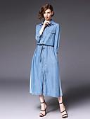 tanie Sukienki-Damskie Bawełna Szczupła Linia A Sukienka - Solidne kolory, Patchwork Kołnierzyk koszuli Midi