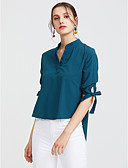 cheap Women's Shirts-Women's Work Active / Street chic Cotton Shirt - Solid Colored Bow V Neck Green M