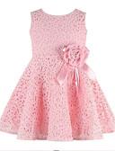 hesapli Elbiseler-Toddler Genç Kız Temel Günlük Tatil Solid Çiçekli Jakarlı Dantel Örümcek Ağı Kolsuz Elbise Beyaz / Sevimli