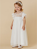 cheap Flower Girl Dresses-Sheath / Column Ankle Length Flower Girl Dress - Chiffon / Lace Short Sleeve Jewel Neck with Pleats by LAN TING BRIDE®