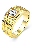 cheap Bikinis-Men's Diamond Cubic Zirconia Solitaire Round Cut Band Ring Groove Rings Zircon Gold Plated Rock Ring Jewelry Gold For Wedding Daily Masquerade Engagement Party Prom Work 9 / 10