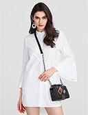baratos Vestidos Femininos-Mulheres Camisa Social Estilo Clássico, Sólido Solto