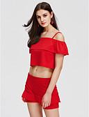 זול חליפות שני חלקים לנשים-כתפיה מכנס אחיד - עליונית טנק בגדי ריקוד נשים / קיץ / קפלים