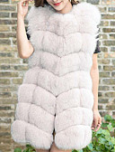 baratos Camisolas e Pijamas Femininos-Mulheres Casaco de Pêlo Sólido Pêlo de Raposa Decote V