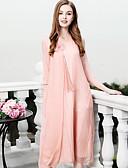 זול שמלות נשים-מידי רקום, אחיד - שמלה גזרת A משוחרר משי סגנון סיני / מתוחכם חגים בגדי ריקוד נשים