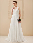 cheap Wedding Dresses-A-Line Halter Neck Floor Length All Over Lace Made-To-Measure Wedding Dresses with Lace / Sashes / Ribbons by LAN TING BRIDE® / Open Back