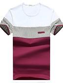 abordables Polos de Hombre-Hombre Básico Deportes Algodón Camiseta, Escote Redondo Delgado A Rayas / Manga Corta