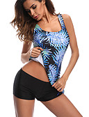 cheap Women's Swimwear & Bikinis-Women's Strap Black Bandeau Boy Leg Tankini Swimwear - Geometric / Color Block Bow XL XXL XXXL