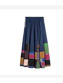 tanie Damska spódnica-Damskie Podstawowy Linia A Spódnice Kolorowy blok Nadruk