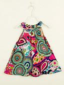 tanie Sukienki dla dziewczynek-Brzdąc Dla dziewczynek Codzienny Kwiaty / Tęczowy Nadruk Bez rękawów Bawełna Sukienka Zielony 100 / Śłodkie