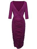 preiswerte Damen Kleider-Damen Festtage Street Schick Schlank Bodycon Kleid Solide Midi V-Ausschnitt / Sommer
