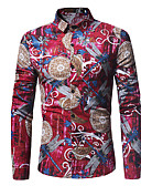 זול חולצות לגברים-אחיד / פרחוני בסיסי / אלגנטית חולצה - בגדי ריקוד גברים פול