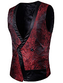 cheap Men's Shirts-Men's Daily / Holiday Spring Regular Vest, Solid Colored V Neck Sleeveless Polyester Black / Purple / Wine L / XL / XXL / Business Casual