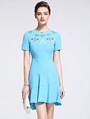 baratos Vestidos Femininos-Mulheres Básico Rodado Vestido Sólido / Floral Acima do Joelho