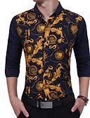 tanie Męskie koszule-Koszula Męskie Vintage, Nadruk Szczupła - Kwiaty / Długi rękaw / Wiosna