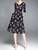 tanie Sukienki-Damskie Wyjściowe Wyrafinowany styl Bawełna Szczupła Linia A Sukienka - Kwiaty, Nadruk W serek Do kolan