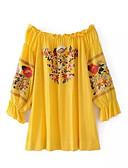 זול שמלות נשים-סירה רחב מעל הברך פרחוני - שמלה ישרה סגנון רחוב חגים בגדי ריקוד נשים / קיץ