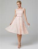 preiswerte Abendkleider-A-Linie / Leger & Aufgebauscht U-Ausschnitt Tee-Länge Spitze Abiball Kleid mit Schleife(n) durch TS Couture®