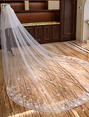 cheap Wedding Veils-Two-tier Lace Applique Edge / Bridal Wedding Veil Chapel Veils / Cathedral Veils with Petal / Scattered Bead Floral Motif Style / Splicing Lace / Tulle / Drop Veil
