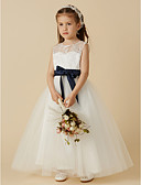 cheap Flower Girl Dresses-A-Line Ankle Length Flower Girl Dress - Lace / Tulle Sleeveless Jewel Neck with Bow(s) / Buttons / Sash / Ribbon by LAN TING BRIDE®