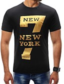 cheap Men's Tees & Tank Tops-Men's Sports Basic Plus Size T-shirt - Letter Print Round Neck / Short Sleeve