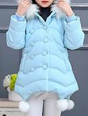 tanie Kurtki i płaszcze dla dziewczynek-Dzieci Dla dziewczynek Kreskówki Patchwork Długi rękaw Długie PU Odzież puchowa / pikowana Czarny 140