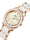 cheap Quartz Watches-ASJ Women's Wrist Watch Quartz 30 m Water Resistant / Water Proof Imitation Diamond Alloy Ceramic Band Analog Luxury Casual Silver / Rose Gold - Silver Rose Gold Two Years Battery Life / SSUO 377