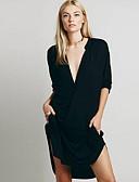 baratos Camisetas Femininas-Mulheres Algodão Delgado Bainha Vestido Sólido Decote em V Profundo Assimétrico / Verão