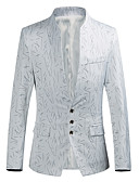 cheap Men's Jackets & Coats-Men's Party Blazer-Striped,Print Stand / Long Sleeve / Plus Size