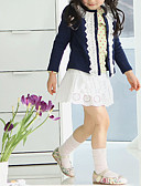 cheap Girls' Dresses-Girls' Solid Sweater & Cardigan, Cotton Polyester Winter Spring Fall Long Sleeves Floral Navy Blue Pink